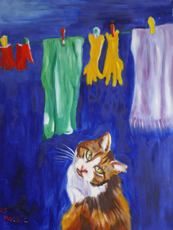 Anne Mounic, Nocturne : Chat. Huile sur toile.