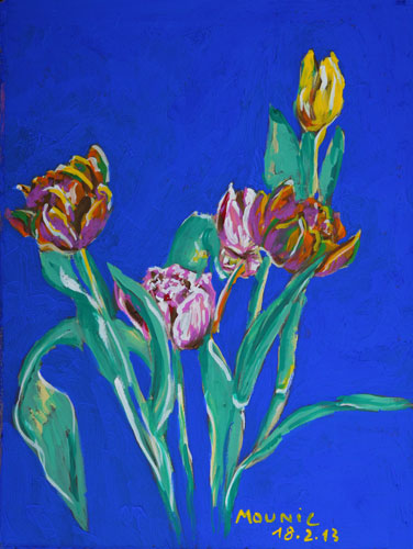 Anne Mounic, Tulipes. Gouache, 2013.