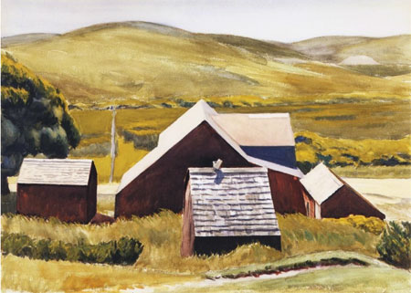 Edward Hopper, Toits des granges de Burly Cobb.
