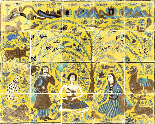 Layla and Majnun in the central courtyard of Shangri La Qajar period, late 19th century Iran Doris Duke Foundation for Islamic Art